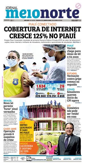 Capa do Jornal Meio Norte - 15/04/2021