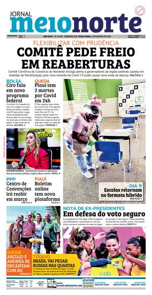 Capa do Jornal Meio Norte - 03/08/2021